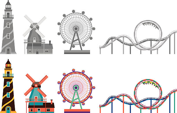 lighthouse,windmill,ferris wheel and roller coaster - roller coaster stock illustrations
