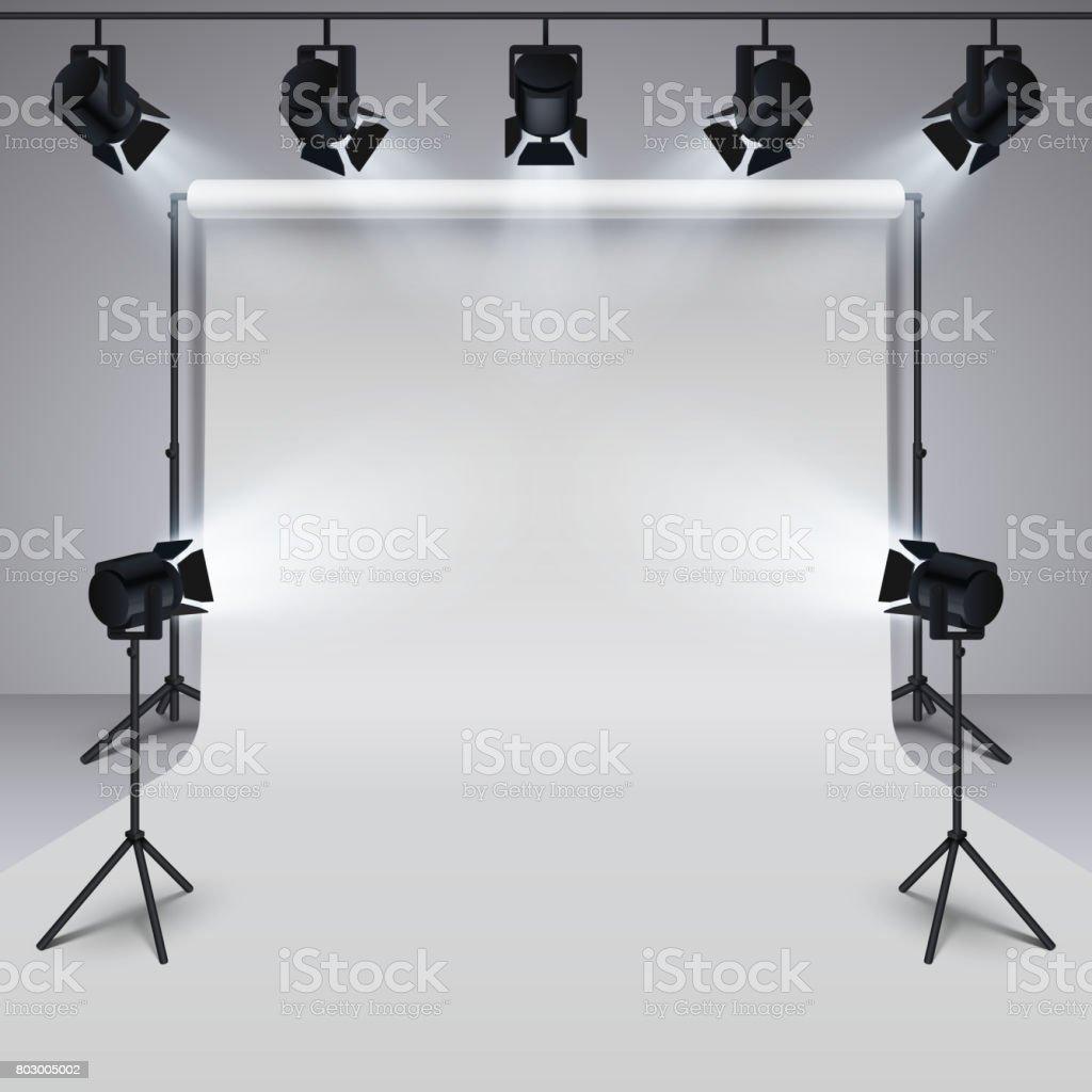 Lighting equipment and professional photography studio white blank background. 3d vector illustration vector art illustration