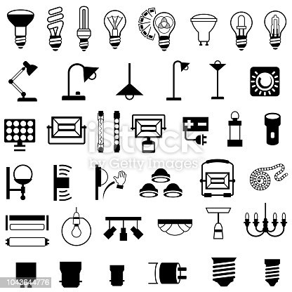 Single color black icons of light fixtures and bulbs. Isolated.