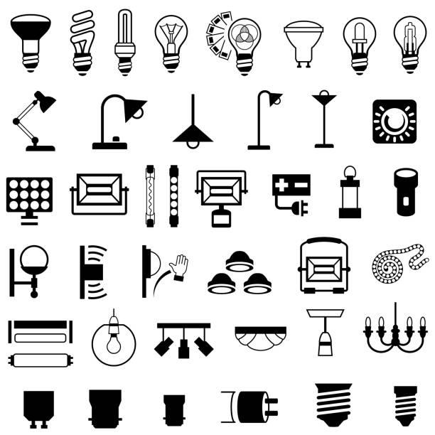 aydınlatma armatürleri ve donanım simgeleri - elektrik lambası stock illustrations