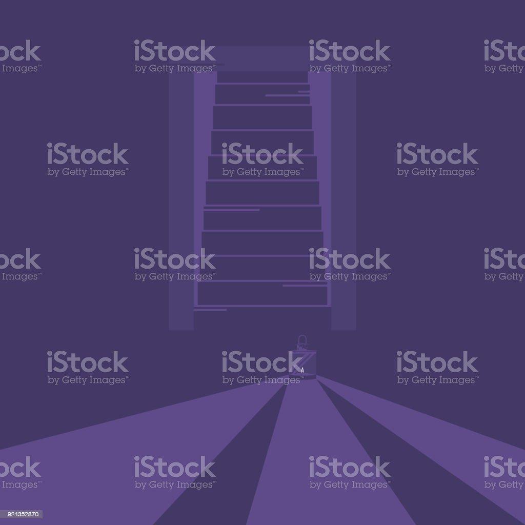 Lámpara De Iluminación En El Cuarto Oscuro - Arte vectorial de stock ...