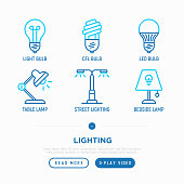 Lighting thin line icons set: light bulb, LED, CFL, table lamp, lamp post, bedtime lamp. Modern vector illustration.