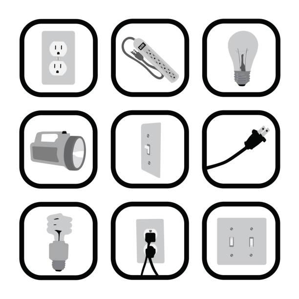 illustrations, cliparts, dessins animés et icônes de lightingetc - rallonge électrique