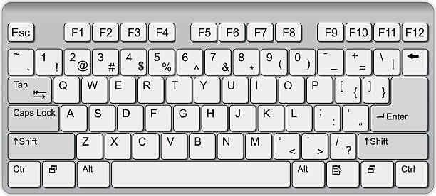 lightly colored qwerty computer keyboard illustration - computer keyboard stock illustrations, clip art, cartoons, & icons