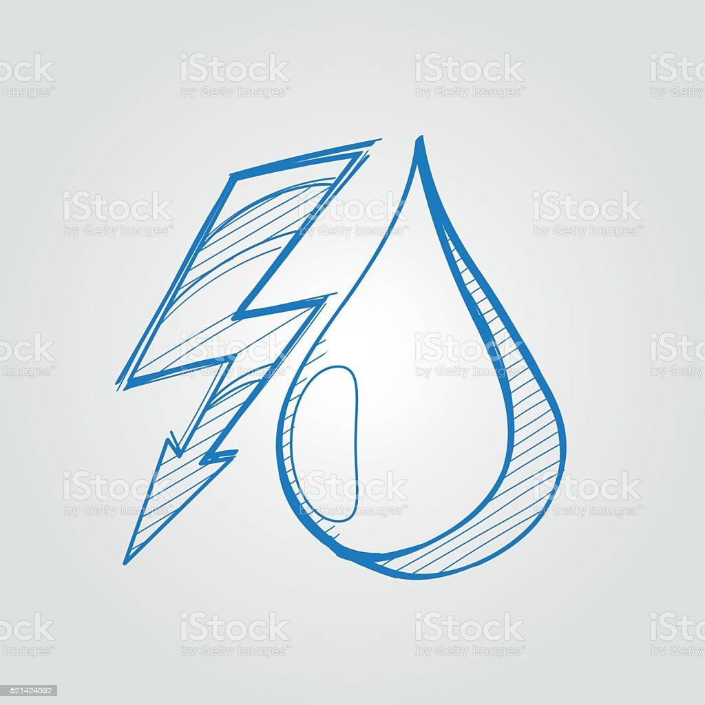 Fulmini E Una Goccia Dacqua Logo Schema Disegno Immagini