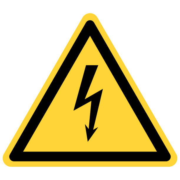 Lightning and danger sign Lightning and danger sign high voltage sign stock illustrations