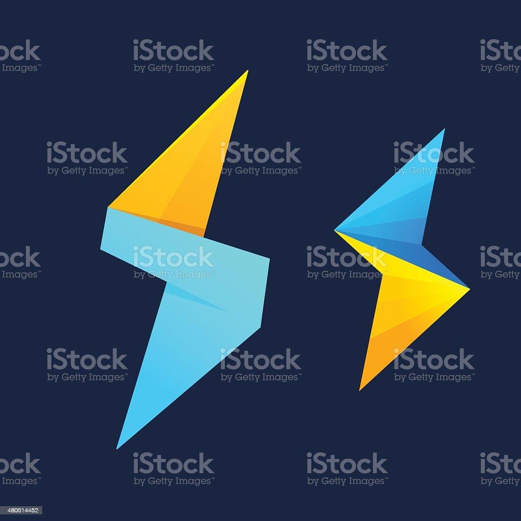 Lightning and S letter icon vector art illustration