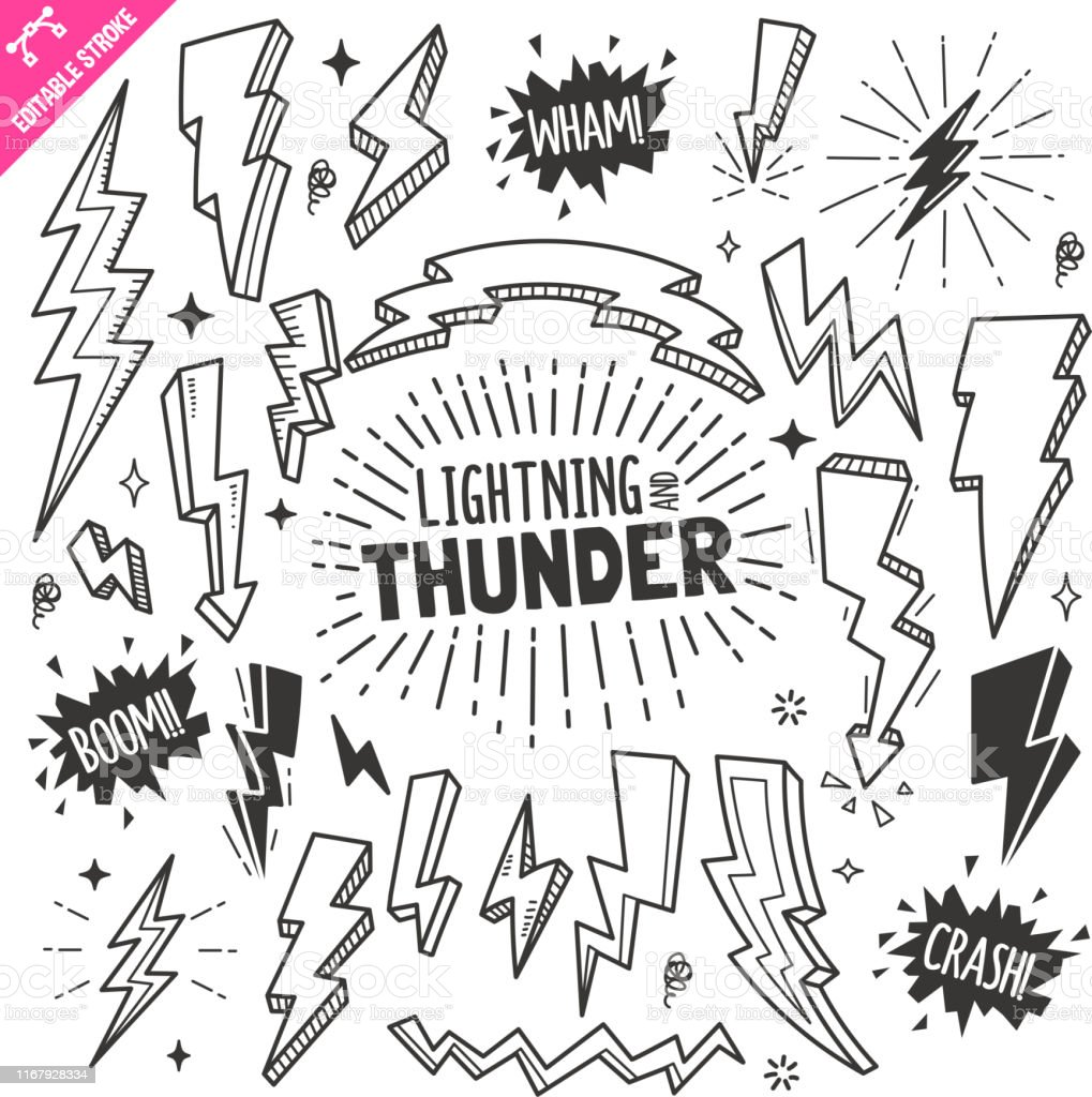 lightning and thunder design elements black and white vector doodle illustration set editable stroke stock illustration download image now istock lightning and thunder design elements black and white vector doodle illustration set editable stroke stock illustration download image now istock