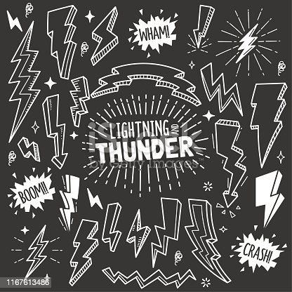 Set of lightning and thunder related objects and elements. Hand drawn vector doodle illustration collection in Blackboard chalk style.