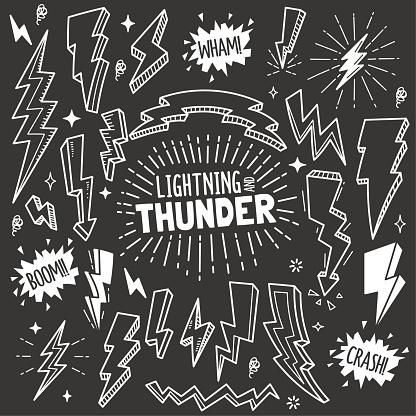 Lightning and Thunder Design elements. Vector Doodle Illustration Set in Blackboard Chalk Style.