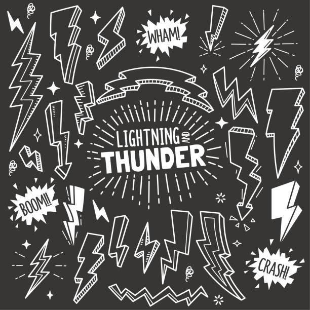 lightning- und thunder-design-elemente. vektor-doodle-illustration set in tafel-kreide-stil. - kreide stock-grafiken, -clipart, -cartoons und -symbole