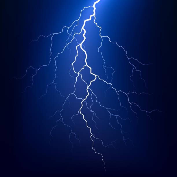 Lightning bolt at night Vector illustration of a lightning bolt at night forked lightning stock illustrations