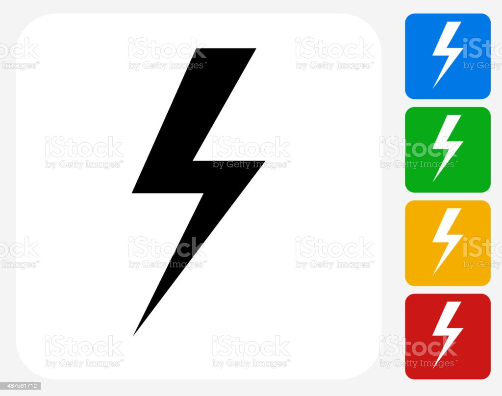 Lightning Bolt Icon Flat Graphic Design vector art illustration