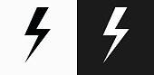 Lightning Bolt Icon on Black and White Vector Backgrounds