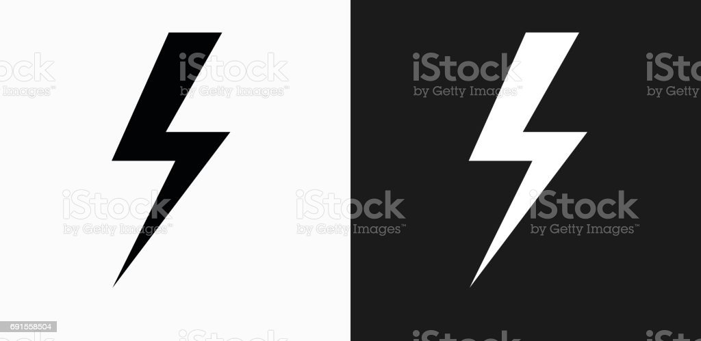 Lightning Bolt Icon on Black and White Vector Backgrounds vector art illustration