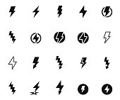 Lightning bolt icon set , vector illustration