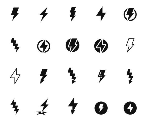 번개 볼트 아이콘 세트 - lightning stock illustrations
