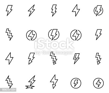 istock Lightning bolt icon set 936237034