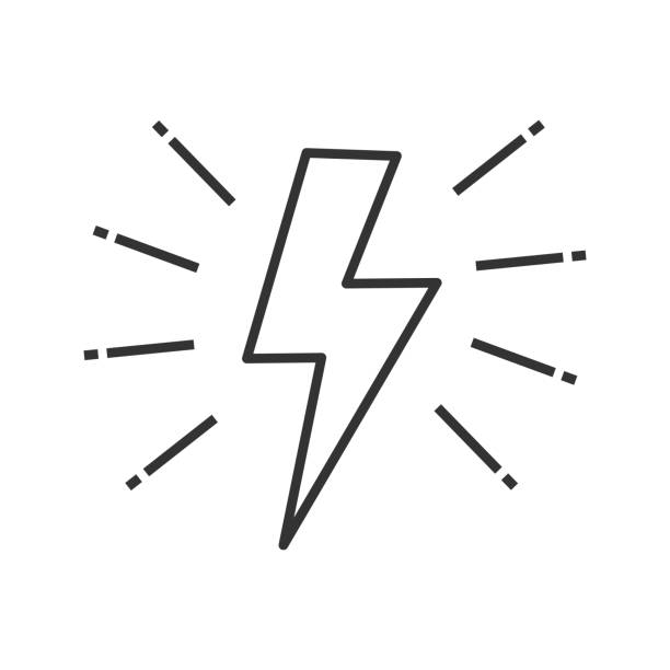 Lightning bolt icon Lightning bolt linear vector icon. Thin line. Electricity sign. Speed and power thunderstorm stock illustrations