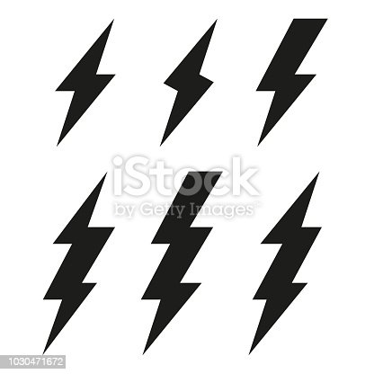 Lightning bolt icons. Thunderbolt. Vector set