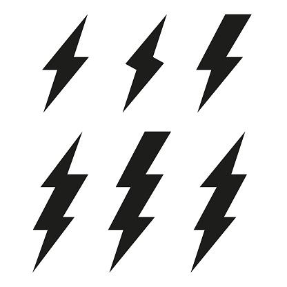 Lightning bolt icons. Thunderbolt. Vector set