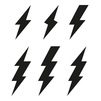 Lightning Bolt Icons Thunderbolt Vector Set Stock Illustration - Download Image Now