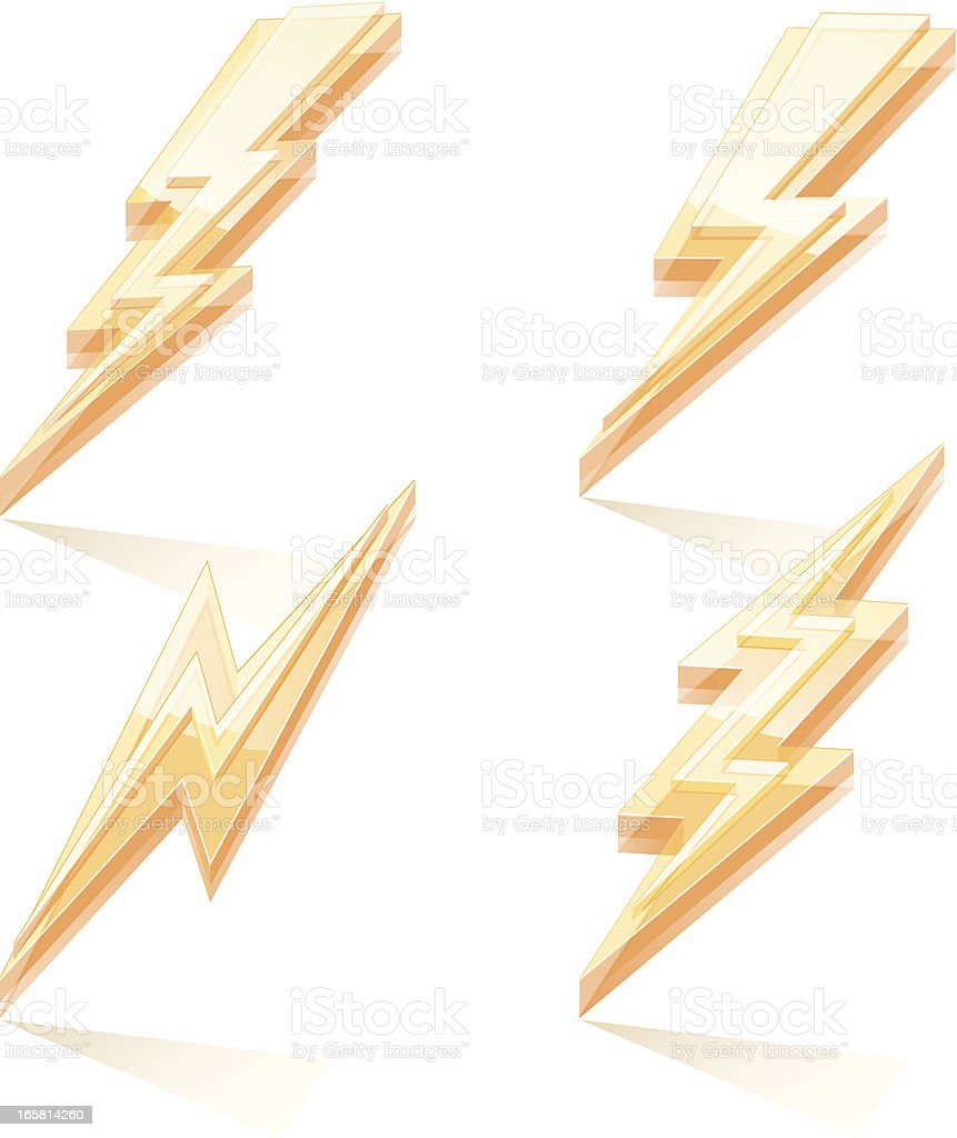 Lightning Bolt Icons royalty-free stock vector art