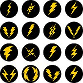 Vector illustration of twelve lightning bolt icons.
