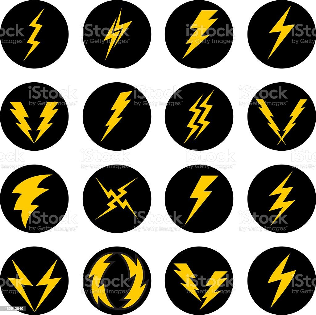 Lightning Bolt Icons vector art illustration