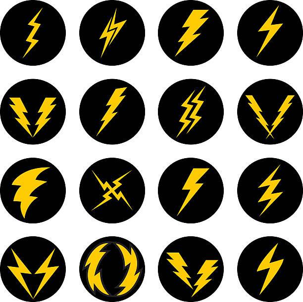 stockillustraties, clipart, cartoons en iconen met lightning bolt icons - onweersbui