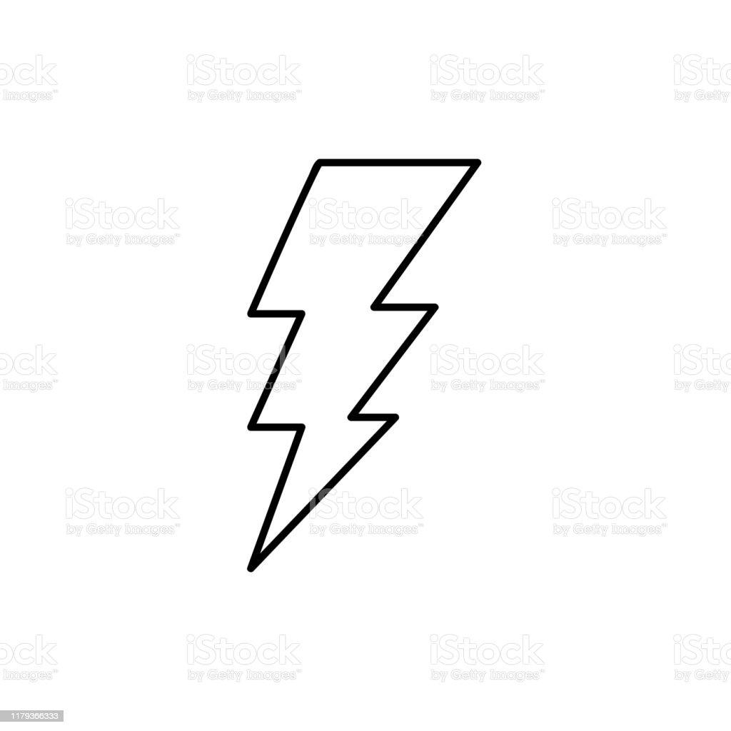 Lightning Bolt Line Icon Outline Vector Sign Linear Style ...