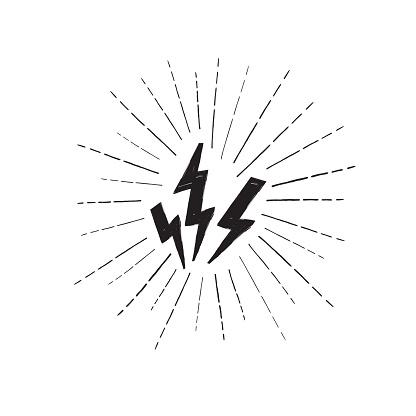 Lightning bolt set. Grunge strike icon. Power sign. Thunderbolt