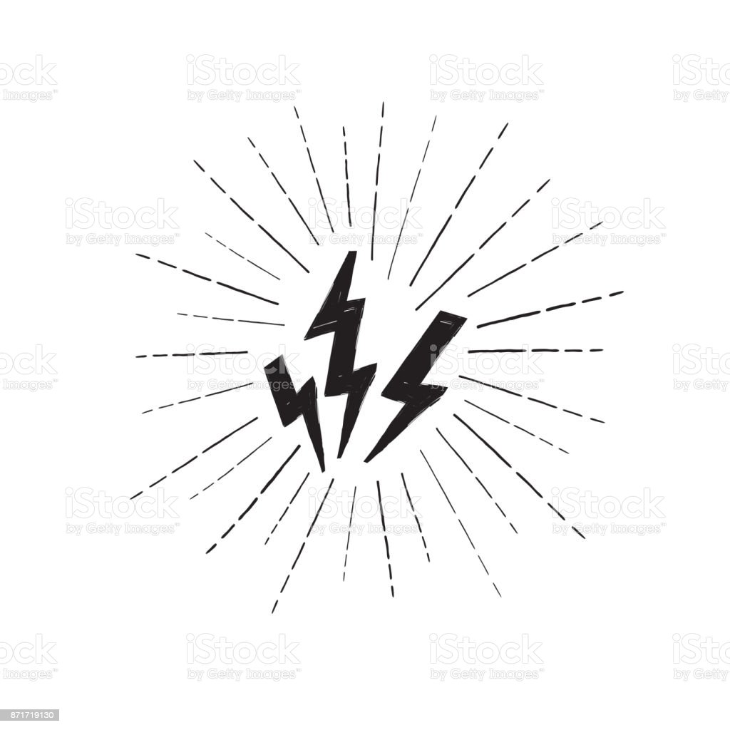 Lightning bolt set. Grunge strike icon. Power sign. Thunderbolt vector art illustration