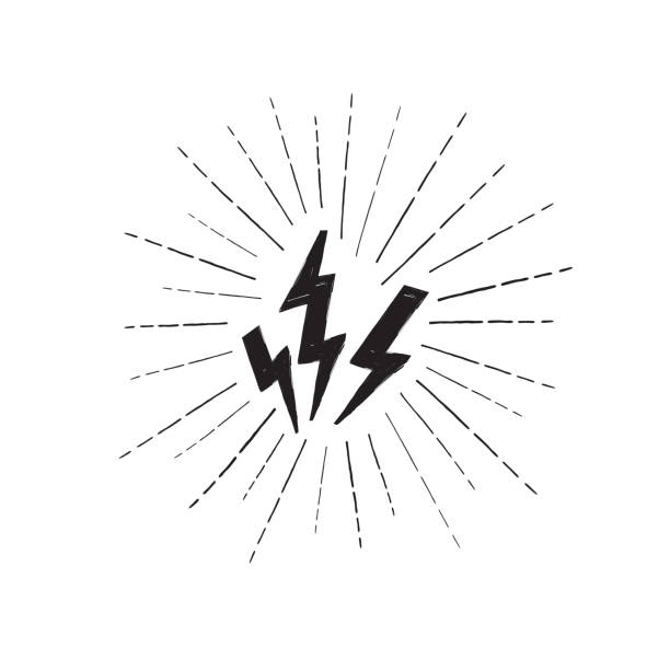Lightning bolt set. Grunge strike icon. Power sign. Thunderbolt Lightning bolt set. Grunge strike icon. Power sign. Thunderbolt with ray beams thunderstorm stock illustrations