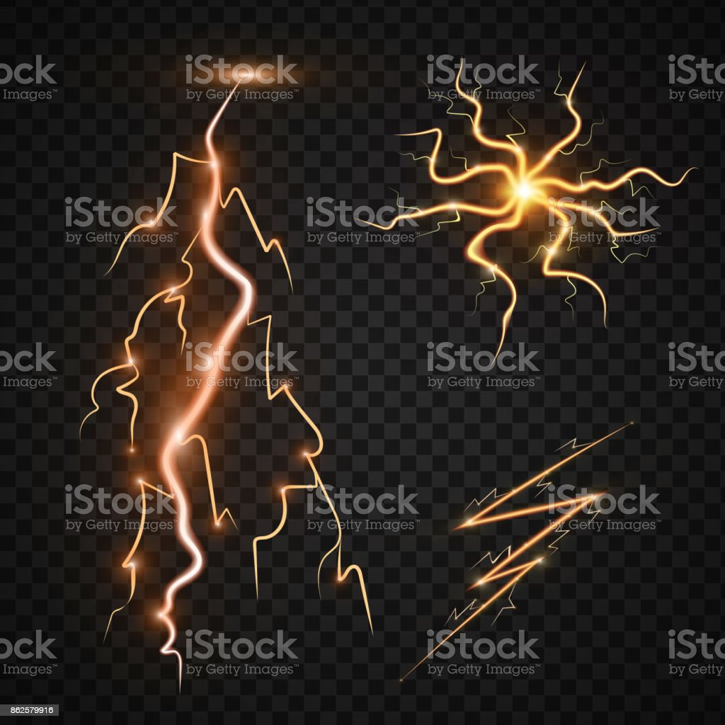 Lightning Bolt Storm Strike Realistic 3d Light Thunderstorm Magic