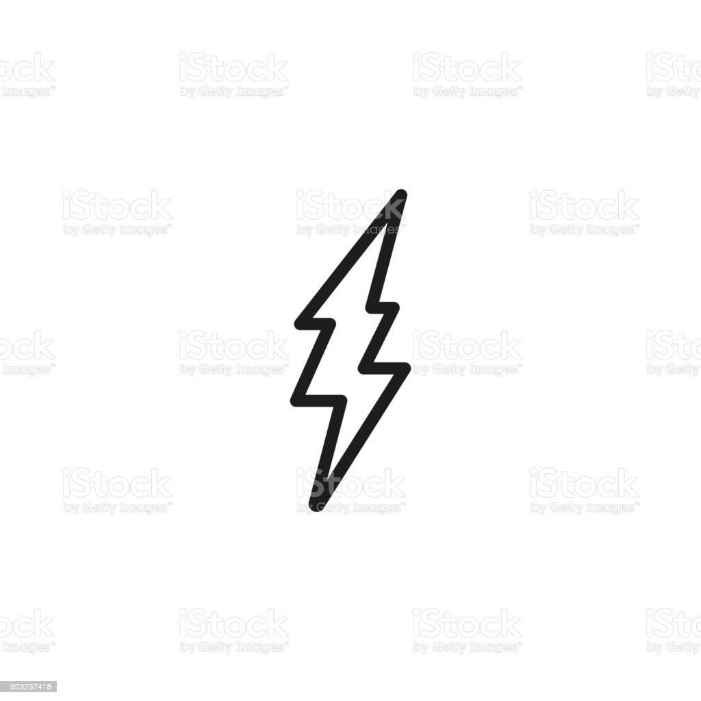 Lightning Bolt Symbol Line Icon Stock Vector Art More Images Of