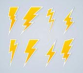 Lightning bolt symbols and icons.