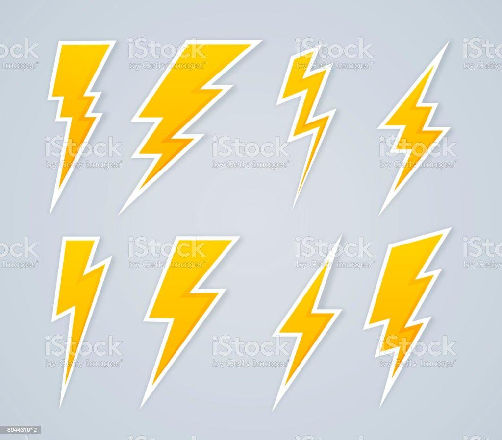 Lightning Bolt Symbols and Icons vector art illustration