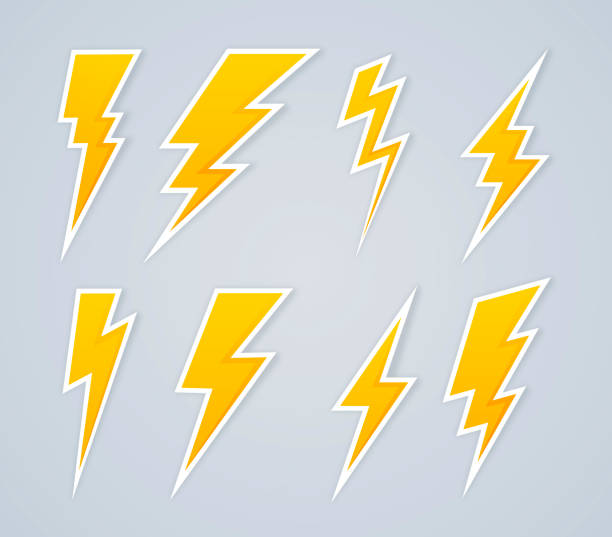 Lightning Bolt Symbols and Icons Lightning bolt symbols and icons. thunderstorm stock illustrations