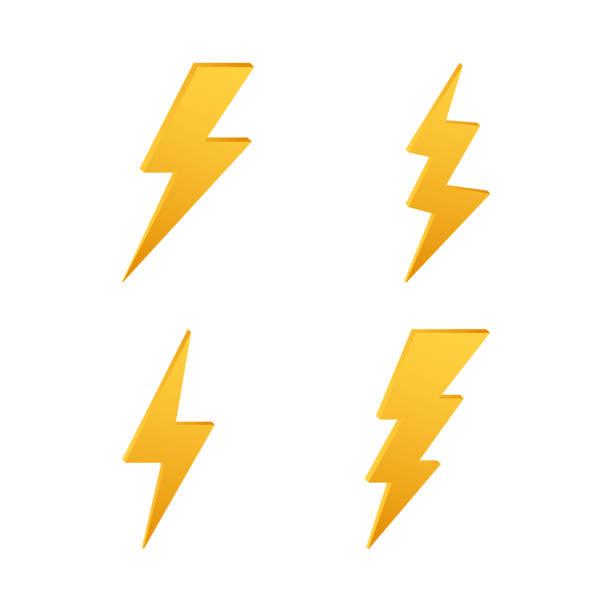 번개. 천둥 화살, 조명 타격 전문 지식. 벡터 일러스트입니다. - lightning stock illustrations