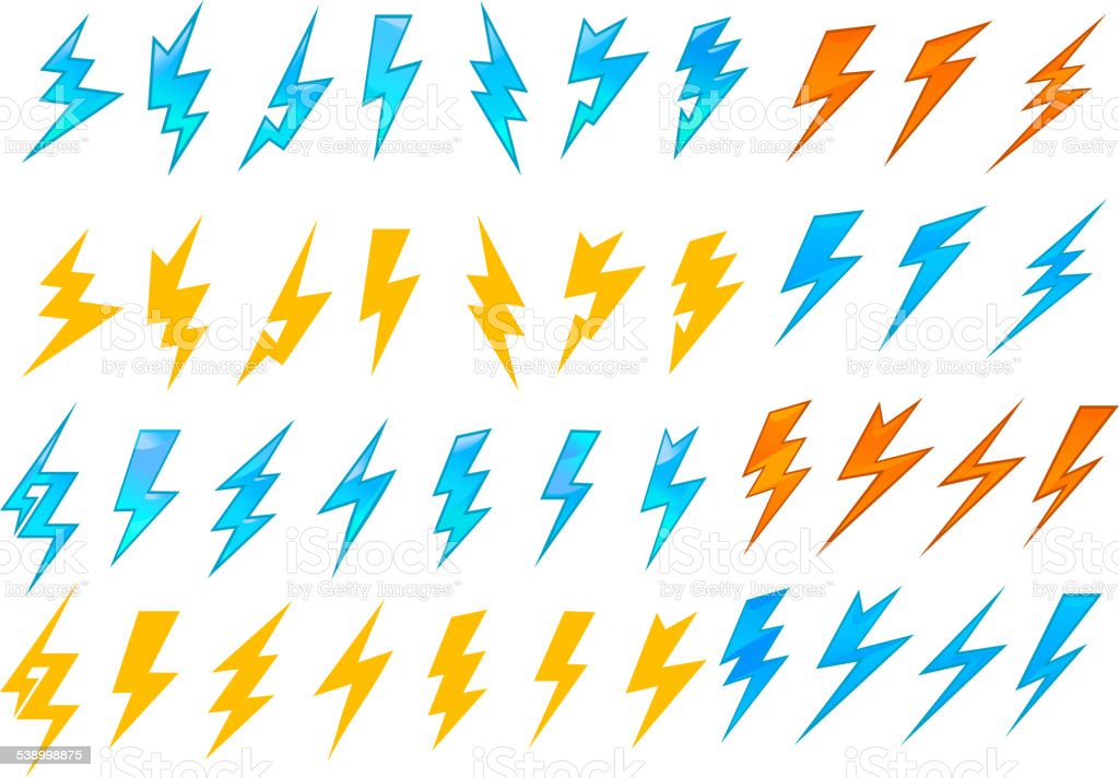 Lightning bolts or electrical icons vector art illustration