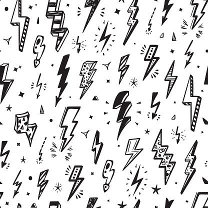 Lightning Bolts Vector Seamless Pattern. Repeat Background with Hand Drawn Doodle Lightning Bolt Signs, Thunderbolts, Energy Thunder bolt, Warning Symbol  illustration
