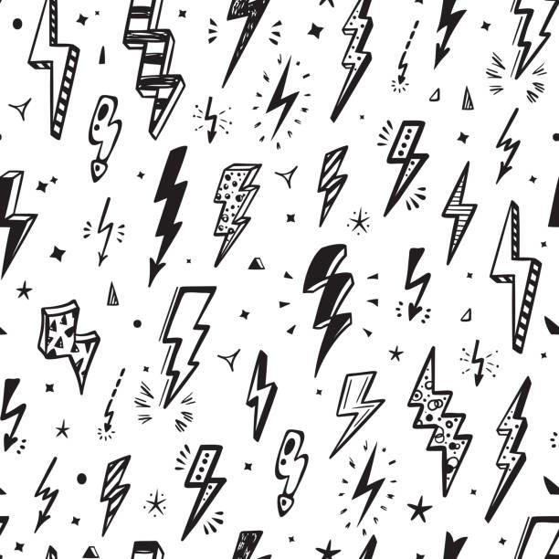 błyskawice vector bezszwowy wzór. powtórz tło z ręcznie rysowane znaki błyskawica błyskawica, pioruny, śruba energy thunder, ilustracja symbol ostrzegawczy - bazgroły rysunek stock illustrations