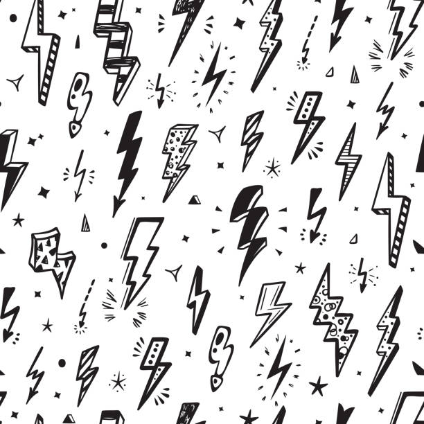 lightning bolts vector seamless pattern. repeat background with hand drawn doodle lightning bolt signs, thunderbolts, energy thunder bolt, warning symbol  illustration - doodles stock illustrations