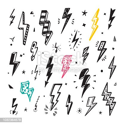 Lightning Bolts Vector Set. Hand Drawn Doodle Lightning Bolt Signs, Thunderbolts, Energy Thunder bolt, Warning Symbol illustration