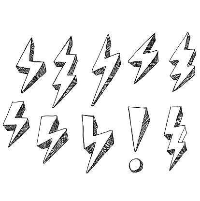 lightning, doodle, sketch