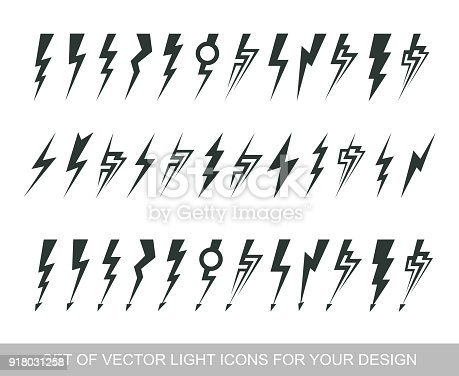 Lightning, electric power vector design element. Energy and thunder electricity symbol concept. Light bolt sign. Flash vector emblem template. Power fast speed icon