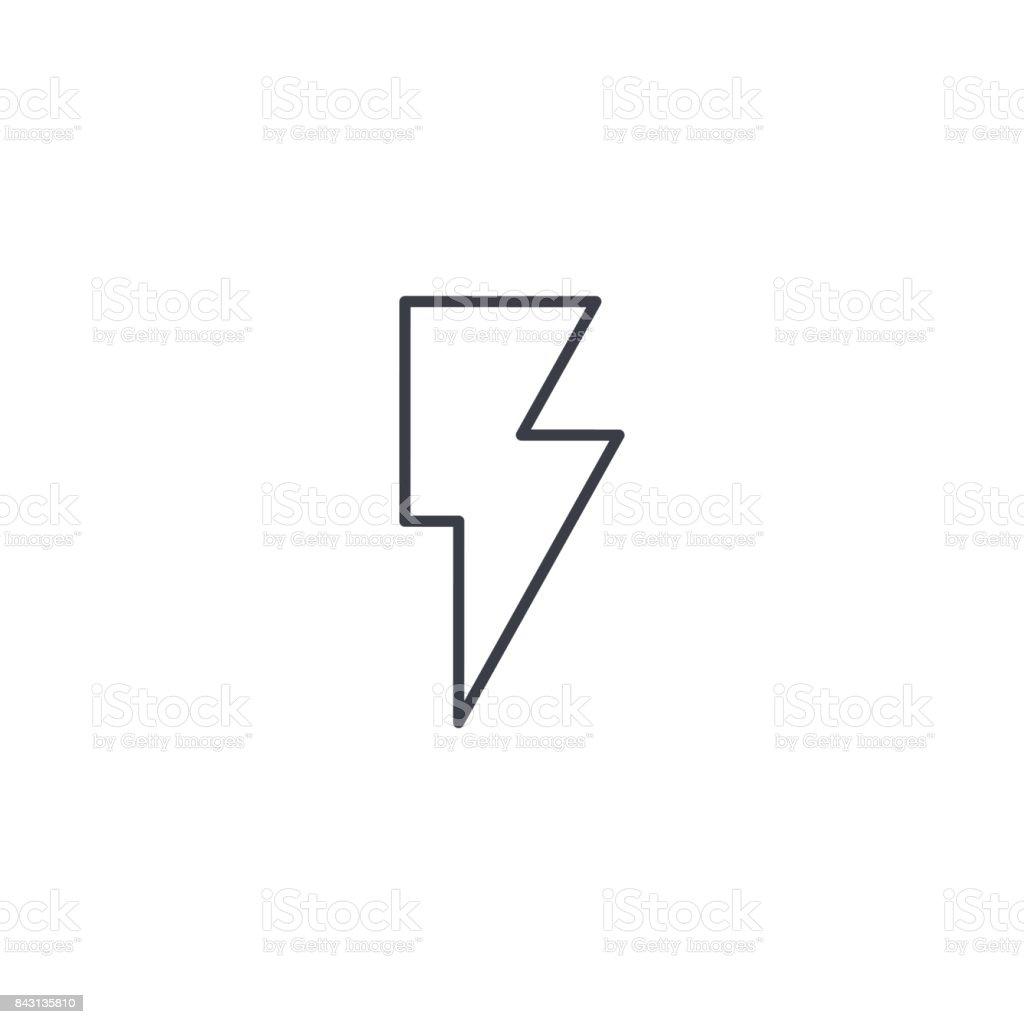 Lightning, electricity thin line icon. Linear vector symbol vector art illustration