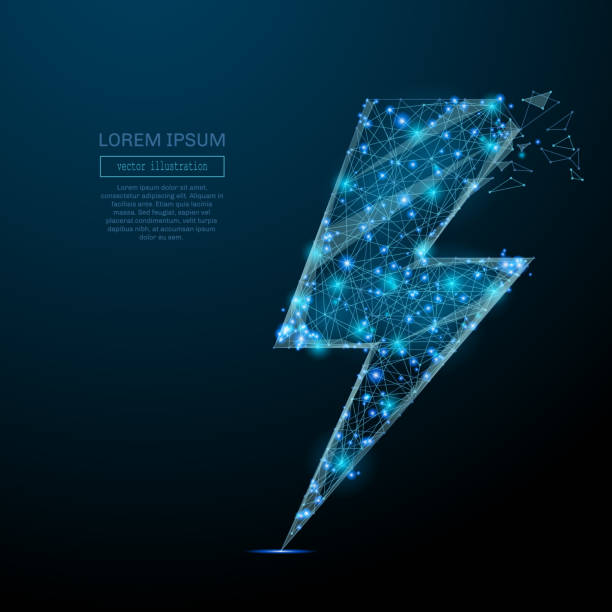 lightning energy icon blue Abstract image of a lightning energy icon in the form of a starry sky or space, consisting of points, lines, and shapes in the form of planets, stars and the universe. Vector wireframe concept. authority stock illustrations