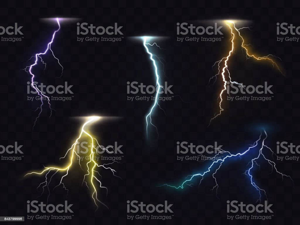 Lightning flash glowing light effects vector set vector art illustration